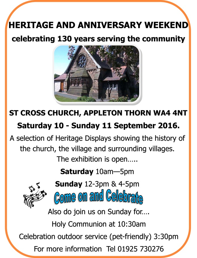 Patronal service and heritage event 11 Sep 2016- poster